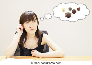 Young Girl with a Chocolate Food Craving