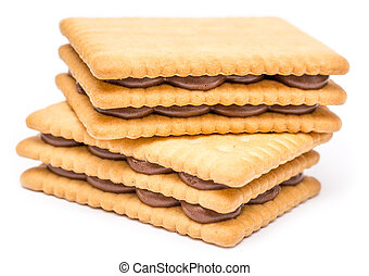 Chocolate Cream Filled Biscuits On White Background