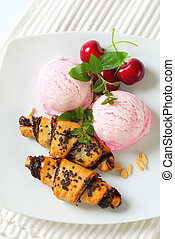 Chocolate crescent rolls with ice cream