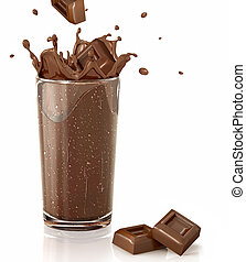Chocolate cubes splashing into a choco milkshake glass. With two chocolate blocks on white reflective floor abd white background.