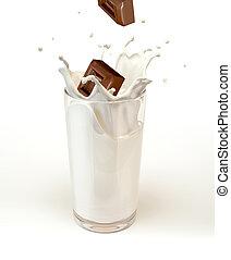 Chocolate cubes splashing into a milk glass. On white background.