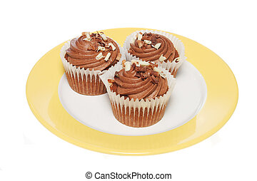 Chocolate cup cakes on plate