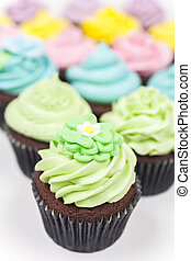 Chocolate Cup Cakes With Colorful Icing or Frosting