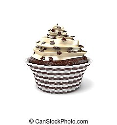 Chocolate cupcake. 3D render