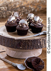 chocolate, cupcake, com, marshmallow