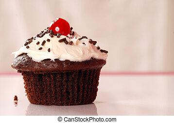 chocolate, cupcake, con, vainilla, buttercream, y, asperja