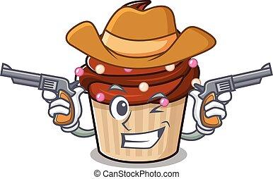 Chocolate cupcake Cowboy cartoon concept having guns