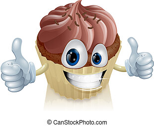 Chocolate cupcake mascot - A happy chocolate cupcake mascot...