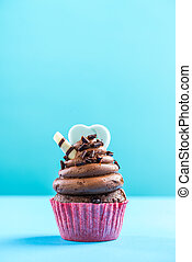 Chocolate cupcake on vibrant background