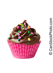 Chocolate cupcake isolated against a white background