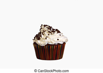 An isolated chocolate cupcake with vanilla frosting on a white background and chocolate sprinkles.