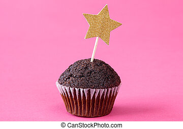 Chocolate cupcake with a star