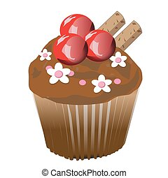 chocolate cupcake with cherry. Vector Illustration