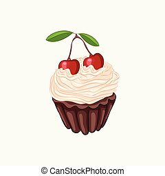 Chocolate cupcake with cream and cherry isolated