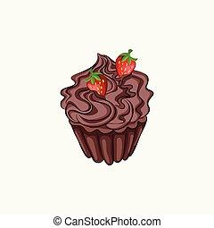 Chocolate cupcake with cream ganache and strawberry
