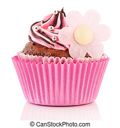Chocolate cupcake with flower