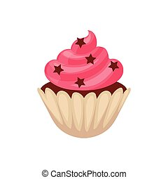 Chocolate cupcake with pink colored icing, cartoon vector illustration