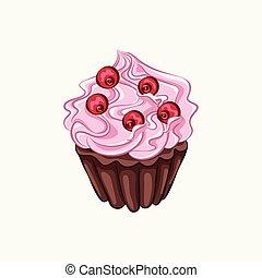 Chocolate cupcake with pink cream