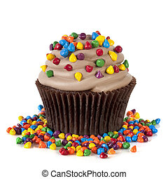 Chocolate Cupcake with Sprinkles - Chocolate cupcake topped...