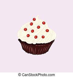 Chocolate cupcake with vanilla cream