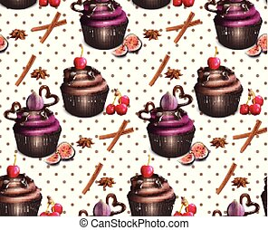 Chocolate cupcakes pattern Vector. Retro vintage backgrounds