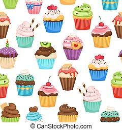 Chocolate cupcakes seamless pattern