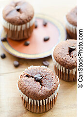 chocolate cupcakes with coffee beans