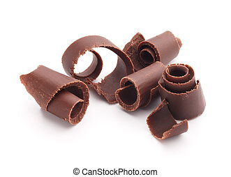 chocolate curls - group of chocolate shavings isolated on...