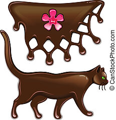 Chocolate decor and cat