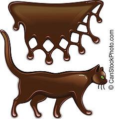 Chocolate decor and cat