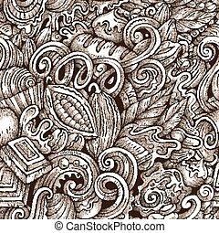 chocolate, desenhado, pattern., doodles, seamless, mão,...