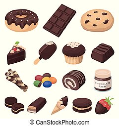 Chocolate Dessert cartoon icons in set collection for design. Chocolate and Sweets vector symbol stock web illustration.
