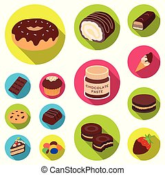 Chocolate Dessert flat icons in set collection for design. Chocolate and Sweets vector symbol stock web illustration.