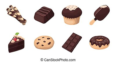 Chocolate Dessert icons in set collection for design. Chocolate and Sweets vector symbol stock web illustration.