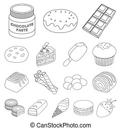 Chocolate Dessert outline icons in set collection for design. Chocolate and Sweets bitmap symbol stock web illustration.