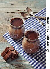 Chocolate dessert panna cotta in glass jars on wooden...