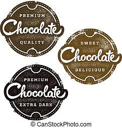 Chocolate Dessert Stamp - Vintage style chocolate stamps.