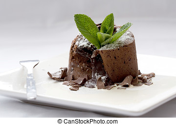 Chocolate dessert - Delicious chocolate dessert served on a...