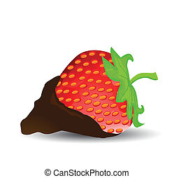 Chocolate Dipped Strawberry - vector illustration