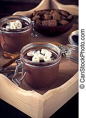 chocolate, doce, sobrepeliz, panna