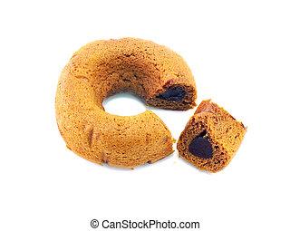 chocolate donut cake on white background