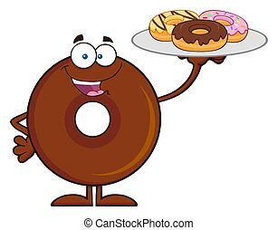Chocolate Donut Cartoon Character