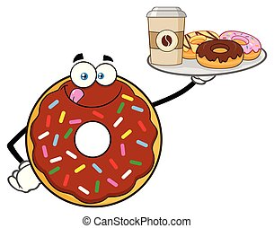Chocolate Donut Cartoon Mascot Character Serving Coffee And Donuts