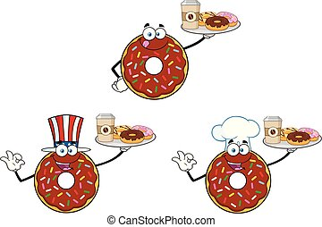 Chocolate Donut Cartoon Mascot Character Set 2. Vector Collection