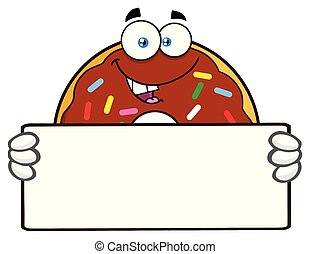 Chocolate Donut Cartoon Mascot Character With Sprinkles Holding A Blank Sign