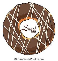 chocolate, donut, com, branca, icing