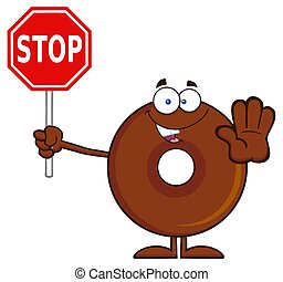 Chocolate Donut Holding A Stop Sign