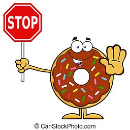 Chocolate Donut Holding A Stop Sign - Smiling Chocolate...