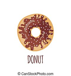 Chocolate donut on a white background.