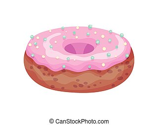 Chocolate donut. Vector illustration on white background.